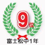富士松中1年学年9位獲得