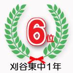 刈谷東中1年学年6位獲得
