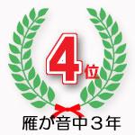 雁が音中3年学園4位獲得